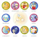 Education and science disciplines for school or university. Study subjects. Vector flat circle icons of archeology, economics and anthropology or rhetoric and Stock Photos