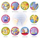 Education and science disciplines for school or university. Study subjects. Vector flat circle icons of genetics, mathematics or physics and geometry Royalty Free Stock Photo