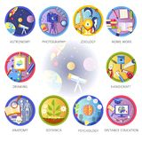 Education and science disciplines for school or university. Study subjects. Vector flat circle icons of astronomy, photography or botany and handicraft drawing Royalty Free Stock Image