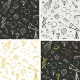 Education, science doodles - seamless patterns Royalty Free Stock Photography