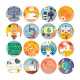 Education and science flat circle icons set. Subjects and scientific disciplines.  Royalty Free Stock Photo