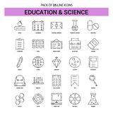 Education and Science Line Icon Set - 25 Dashed Outline Style. This Vector EPS 10 illustration is best for print media, web design, application design user royalty free illustration
