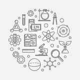 Education and science outline round vector illustration. Education and science modern round vector illustration in outline style royalty free illustration