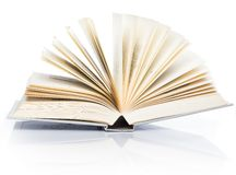 Education, science. Old book on white background. Old book on white background, on a table Royalty Free Stock Image