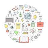 Education and science outline circle vector illustration. Clean and simple design Royalty Free Stock Photos