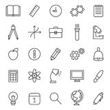 Education and science outline gray icons vector set. Modern minimalistic design. Royalty Free Stock Photography