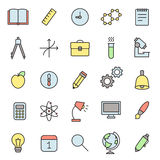 Education and science outline multicolored icons vector set. Royalty Free Stock Images