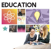 Education Science Physics Graphic Icons Concept stock image