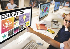 Education Science Physics Graphic Icons Concept. Students Education Science Physics Graphic Stock Photography