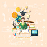 Education and science: student, study,  illustration Royalty Free Stock Photo