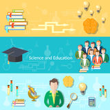 Education and science students learning banners Royalty Free Stock Photos