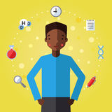 Education and science vector background with african american boy (young man). Stock Photo