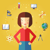 Education and science vector background with brunette bob hair girl. Stock Photography