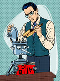 Education scientist teacher robot student. Pop art retro style Royalty Free Stock Images