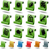 Education Scroll Button Set Royalty Free Stock Images