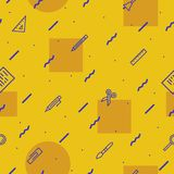 Education seamless pattern on yellow background. With modern line style school supplies such us pen, glass, ruler, pencil, brush  for poster, party, super sale Royalty Free Stock Photos