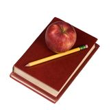 Education Series (apple and book 2). The power of the future is your education. School books with an apple and pencil on top Royalty Free Stock Photography