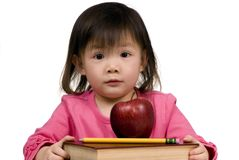 Education Series (books with apple and pencil) Royalty Free Stock Images