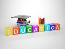 Education - Series Words out of coloured Letterdices Stock Image