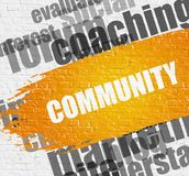 Community on the Brickwall. Education Service Concept: Community Modern Style Illustration on the Yellow Paintbrush Stripe. Community - on Brickwall with Stock Images