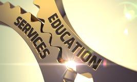 Education Services Concept. Golden Metallic Cogwheels. 3D. royalty free stock photo