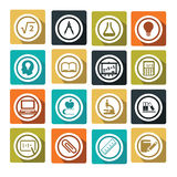 Education. Set of colorful flat education icons Royalty Free Stock Photography