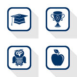 Education set flat icon. Flat design icons education set - graduation, cup, apple, owl Vector Illustration