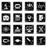 Education set icons, grunge style Stock Images