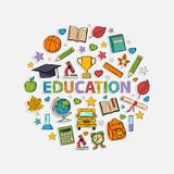 Education Set In The Form Of A Circle Stock Images