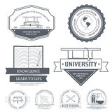 Education set label template of emblem element for. Your product or design, web and mobile applications with text. Vector illustration with thin lines isolated Stock Photography