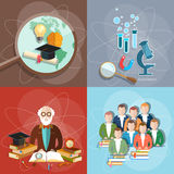 Education set professor teachers students diploma exam Stock Photo