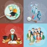 Education set professor teachers students diploma exam Stock Photo