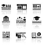 Education set with reflection Royalty Free Stock Images