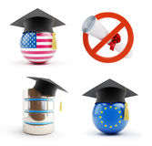 Education set on a white background 3D illustration Royalty Free Stock Images
