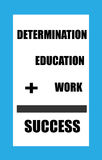 Education Sign. Determination plus Education plus work equals success sign with a blue border and black lettering vector illustration