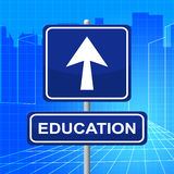 Education Sign Indicates Study Educate And Arrow Stock Photos