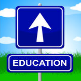 Education Sign Shows Placard Signboard And Study Royalty Free Stock Images