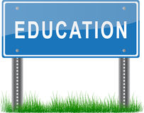 Education Signpost. A blue signpost about education on grass Royalty Free Stock Photos