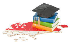 Education in Singapore concept, 3D rendering. Isolated on white background Royalty Free Stock Photo