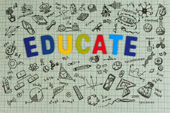 Education sketch design on notebook with copy space. Education concept thinking doodles icons set. Stock Photo