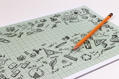 Education sketch design on notebook with copy space. Education concept thinking doodles icons set. School background of education icons set stock image