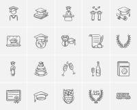 Education sketch icon set. Royalty Free Stock Photo