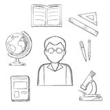 Education sketched design with school items Stock Photography