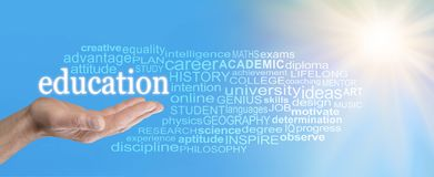 With Education the sky is the limit Word Cloud Royalty Free Stock Photography