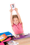 Education: Smiling Girl Studying Math Flash Cards Royalty Free Stock Images