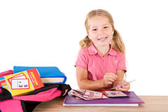 Education: Smiling Girl Studying Math Flash Cards Stock Images