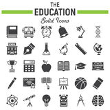 Education solid icon set, school sign collection Stock Photography