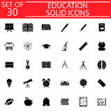 Education solid icon set, School sign collection royalty free illustration