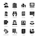 Education Solid Vector Icons Set royalty free stock photography