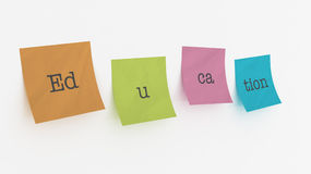 Education spelled out on post it notes Stock Photo
